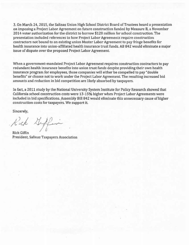 Page 2 from 2015-04-15 Salinas Taxpayers Association - Support AB 842 - Project Labor Agreement Fringe Health Benefits