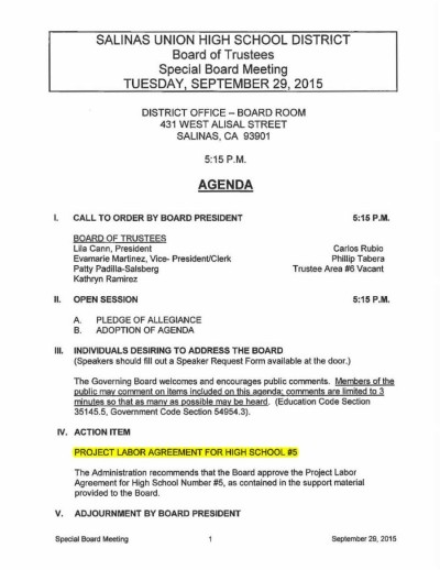 Agenda of 2015-09-29 Salinas Union High School District Board Meeting - Project Labor Agreement