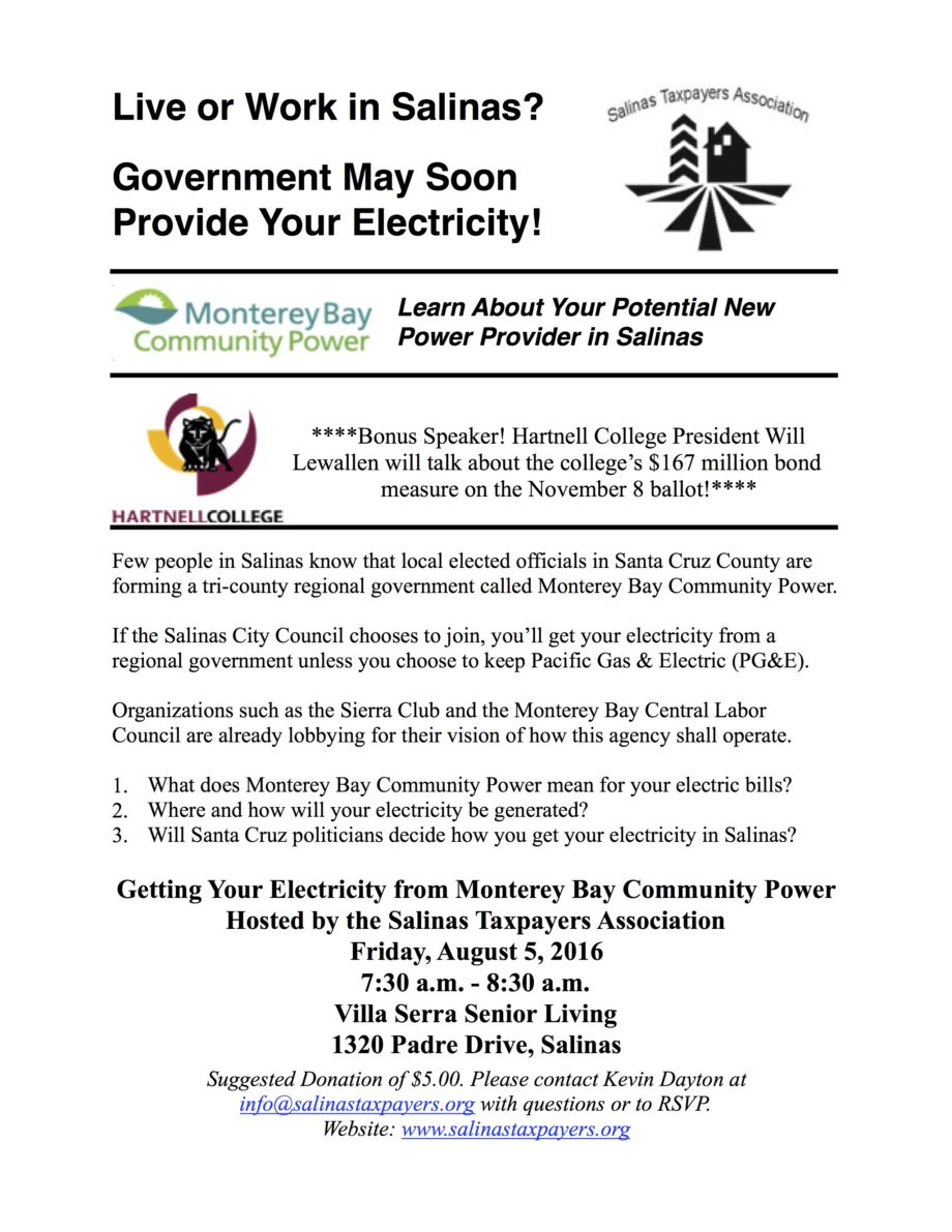 Salinas Taxpayers Association Meeting - Monterey Bay Community Power and Hartnell College Bond Measure