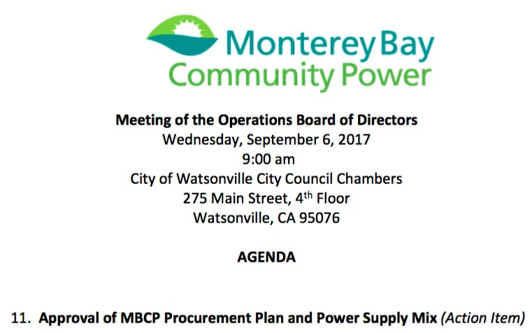 Approval of Monterey Bay Community Power Procurement Plan and Power Supply Mix