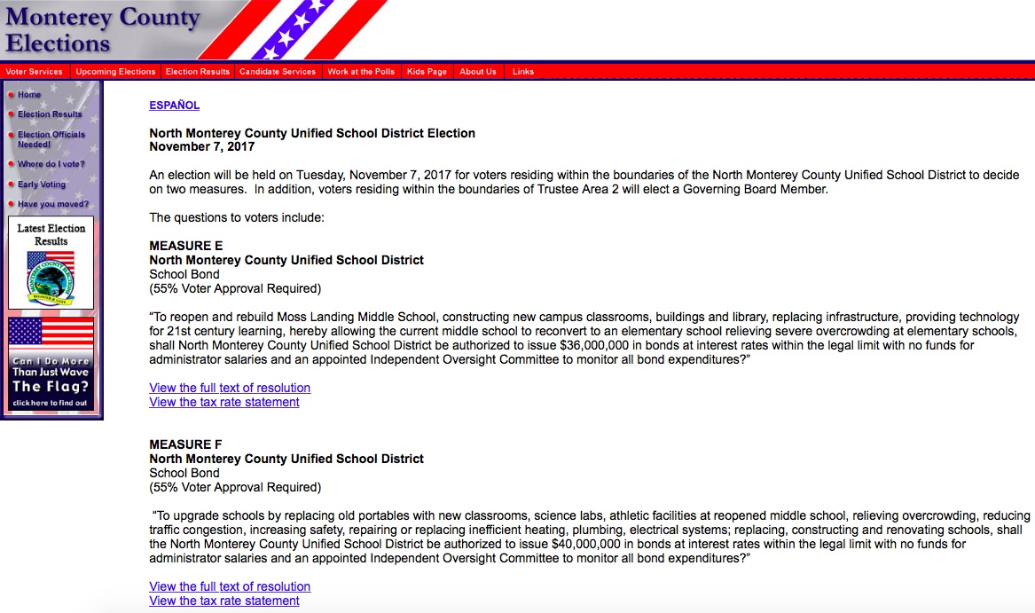 North Monterey County Unified School District Alone on November 7 2017 Monterey County Ballot