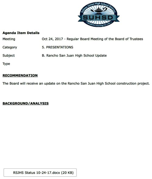 Rancho San Juan High School Update - Salinas Union High School District