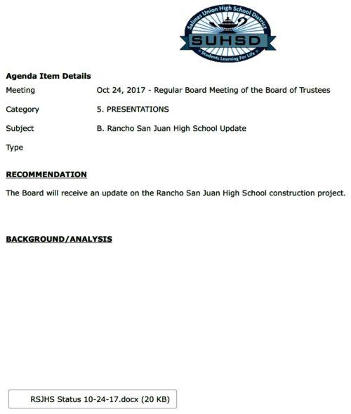 Rancho San Juan High School Update - Salinas Union High School District